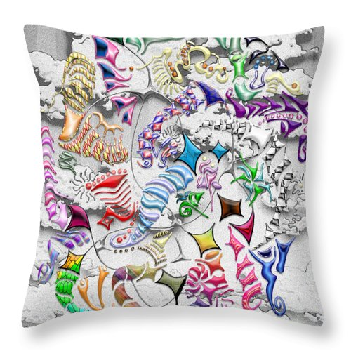 Abstract Throw Pillow featuring the digital art Battling Kites -- Gray by Mark Sellers