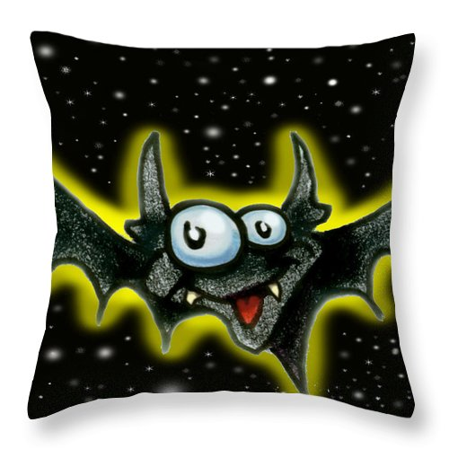 Bat Throw Pillow featuring the greeting card Batty by Kevin Middleton