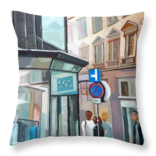 Figural Paintings Throw Pillow featuring the painting Bauernmarkt 2a Wien by Carmen Stanescu Kutzelnig