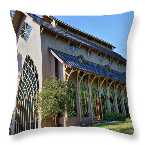 Baughman Throw Pillow featuring the photograph Baughman Meditation Center - Outside by Farol Tomson