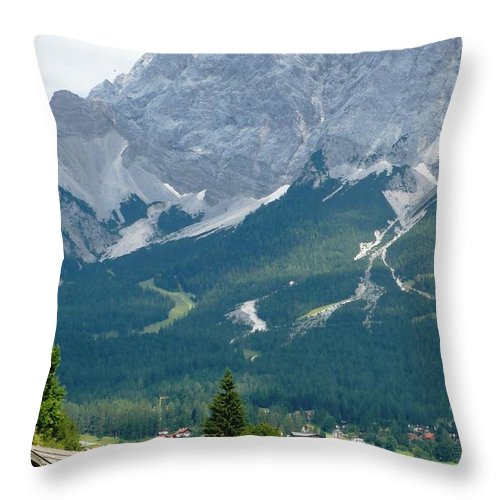 Mountains Throw Pillow featuring the photograph Bavarian Alps With Shed by Carol Groenen