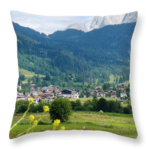 Bavaria Throw Pillow featuring the photograph Bavarian Alps With Village And Flowers by Carol Groenen