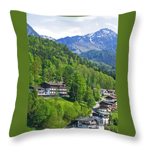 Germany Throw Pillow featuring the photograph Bavarian Mountainside by Ann Horn