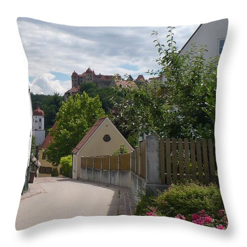 Castle Throw Pillow featuring the photograph Bavarian Village With Castle View by Carol Groenen
