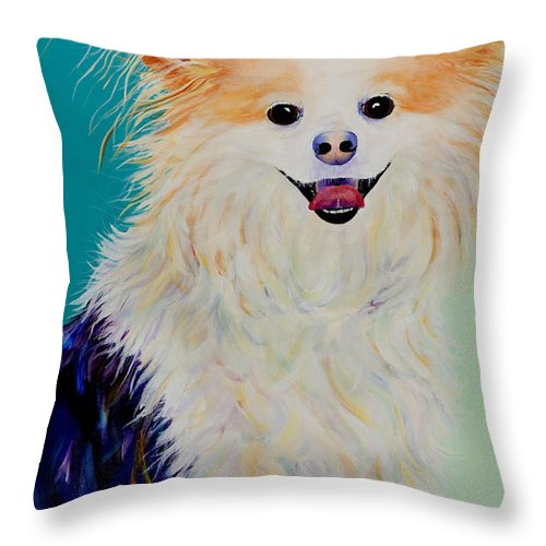 Animal Throw Pillow featuring the painting Baxter by Pat Saunders-White