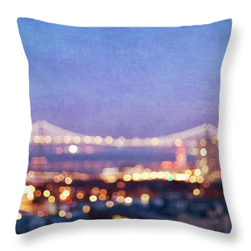 Abstract Photography Throw Pillow featuring the photograph Bay Bridge Glow - San Francisco, California by Melanie Alexandra Price