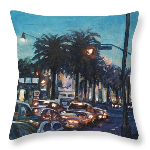 City Scape Throw Pillow featuring the painting Bay Bridge by Rick Nederlof