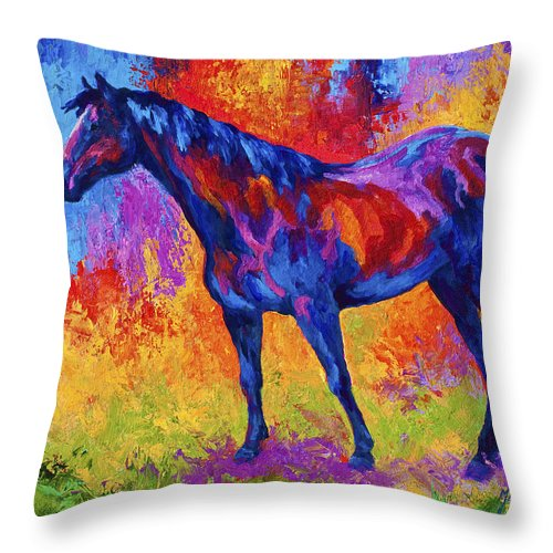 Horses Throw Pillow featuring the painting Bay Mare II by Marion Rose