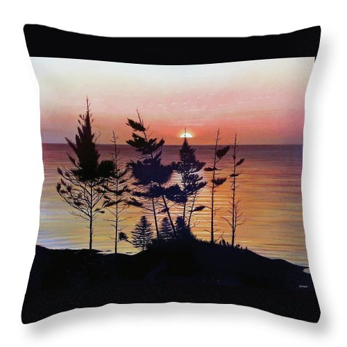 Bay Of Fundy Throw Pillow featuring the painting Bay Of Fundy Sunset by Kenneth M Kirsch