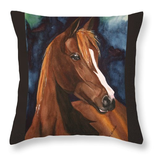 Horse Throw Pillow featuring the painting Bay On Blue 2 by Jean Blackmer