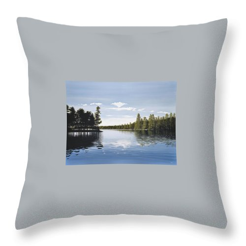 Landscapes Throw Pillow featuring the painting Bay On Lake Muskoka by Kenneth M Kirsch