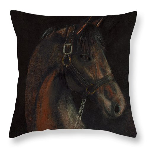 Horse Throw Pillow featuring the pastel Bay Thoroughbred by Arline Wagner