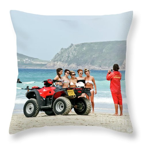 Cornwall Throw Pillow featuring the photograph Bay Watch Uk by Terri Waters