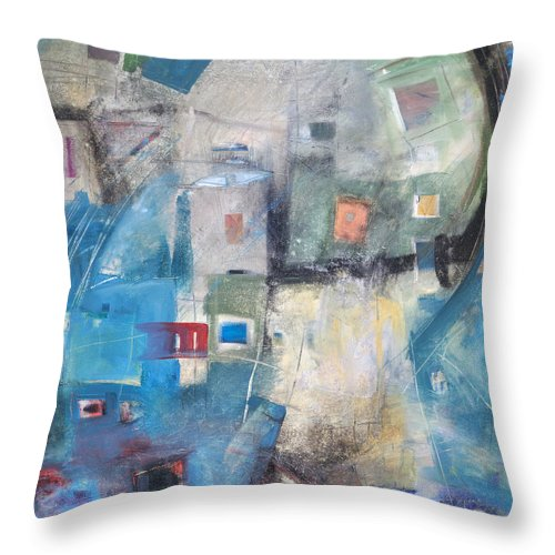Abstract Throw Pillow featuring the painting Bayer Works Wonders by Tim Nyberg