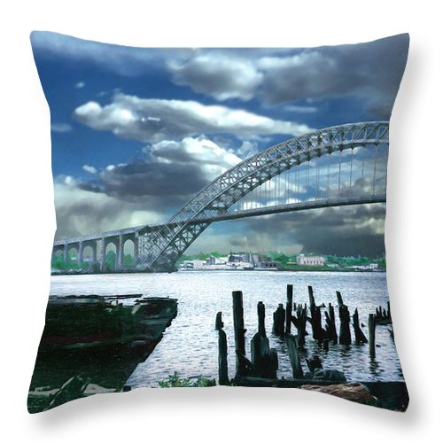 Seascape Throw Pillow featuring the photograph Bayonne Bridge by Steve Karol