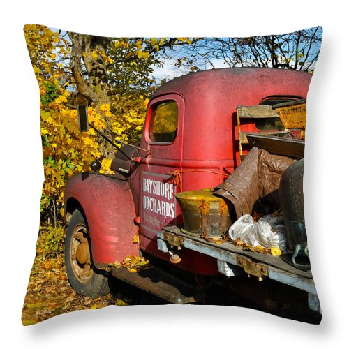 Truck Throw Pillow featuring the photograph Bayshore Orchards by Tim Nyberg