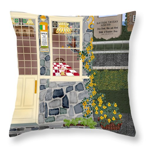 Quaint Inn Throw Pillow featuring the painting Bayside Inn And Tavern In Ireland by Anne Norskog