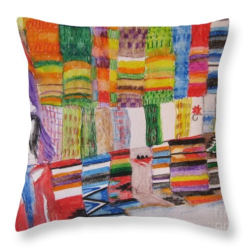 Bright Colors Throw Pillow featuring the painting Bazaar Sabado - Gifted by Judith Espinoza