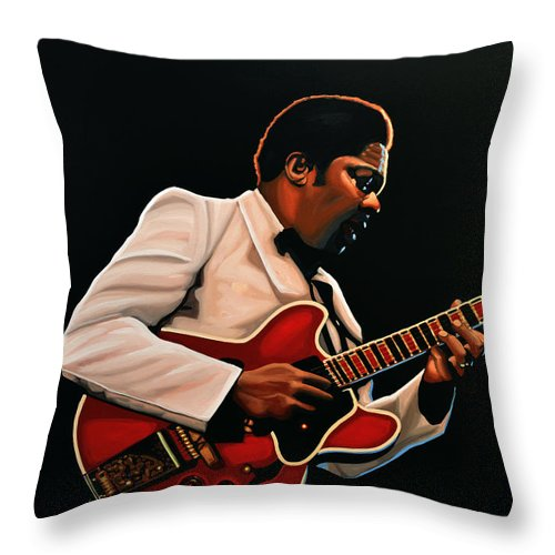 Bb King Throw Pillow featuring the painting B. B. King by Paul Meijering