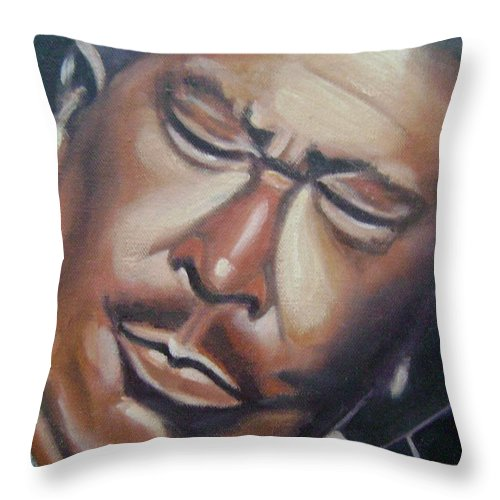 B.b. King Throw Pillow featuring the painting B.b. King by Toni Berry