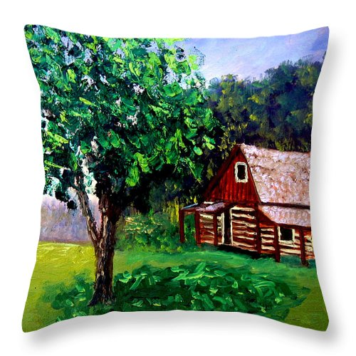 Plein Air Throw Pillow featuring the painting Bcsp 5 8 by Stan Hamilton