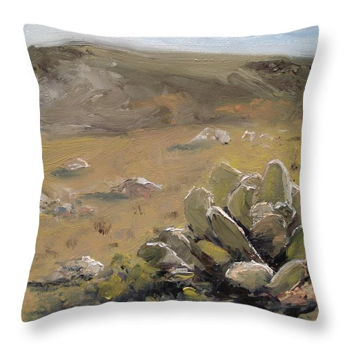 Floral Throw Pillow featuring the painting Be A Good Rabbit by Barbara Andolsek
