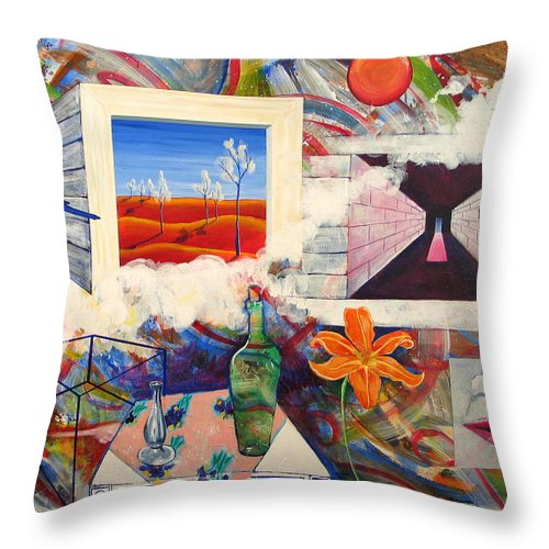Landscape Throw Pillow featuring the painting Be Here Now by Rollin Kocsis