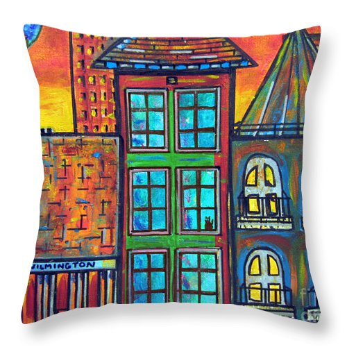 City Throw Pillow featuring the painting Be Home Soon - Blue Moon by Susan Hendrich