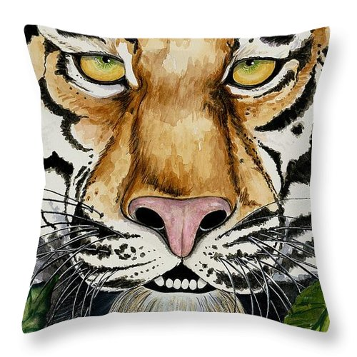Art Throw Pillow featuring the painting Be Like A Tiger by Carol Sabo