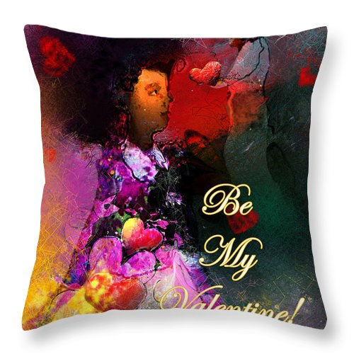 Love Throw Pillow featuring the painting Be My Valentine by Miki De Goodaboom