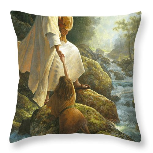 Jesus Throw Pillow featuring the painting Be Not Afraid by Greg Olsen
