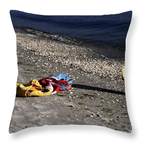 Sand Beach Throw Pillow featuring the photograph Be Right Back by Sally Weigand
