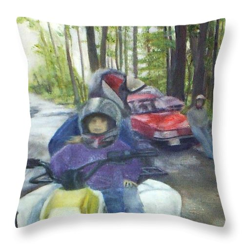Quad Throw Pillow featuring the painting Be Right Back by Sheila Mashaw