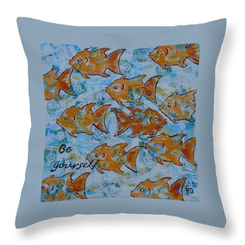 Blue Throw Pillow featuring the painting Be Yourself by Georgia Donovan