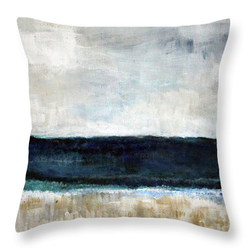 Beach Throw Pillow featuring the painting Beach- abstract painting by Linda Woods