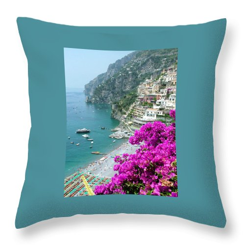 Positano Throw Pillow featuring the photograph Beach At Positano by Donna Corless