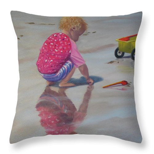 Baby Throw Pillow featuring the painting Beach Baby by Lea Novak