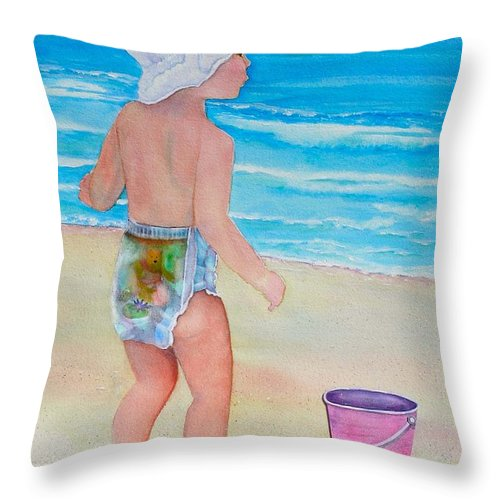 Baby Throw Pillow featuring the painting Beach Baby by Midge Pippel