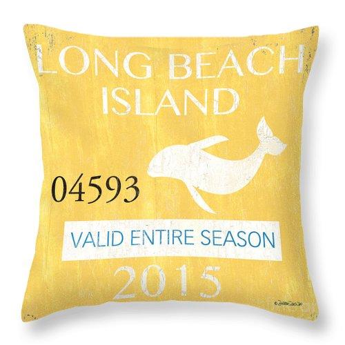Long Beach Island Throw Pillow featuring the painting Beach Badge Long Beach Island by Debbie DeWitt
