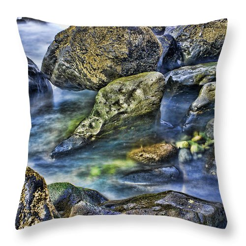 Rocks Throw Pillow featuring the photograph Beach Boulders by Hugh Smith
