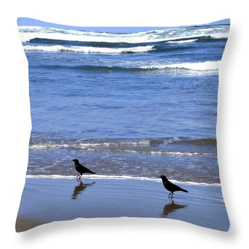 Crows Throw Pillow featuring the photograph Beach Buddies by Will Borden