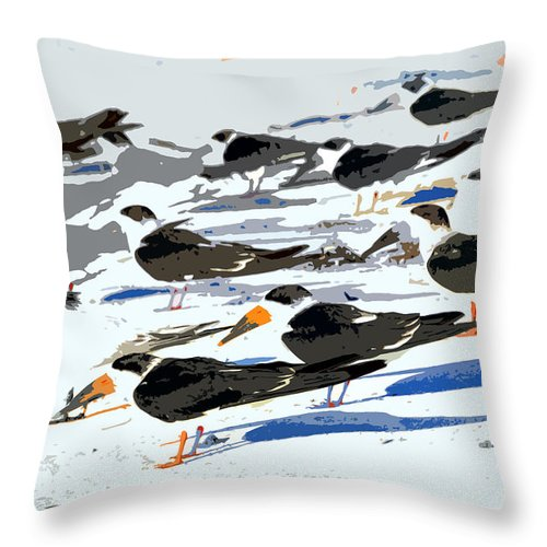 Beach Throw Pillow featuring the painting Beach Bums by David Lee Thompson