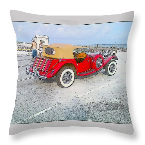 Beach Throw Pillow featuring the photograph Beach Car by Michelle Powell