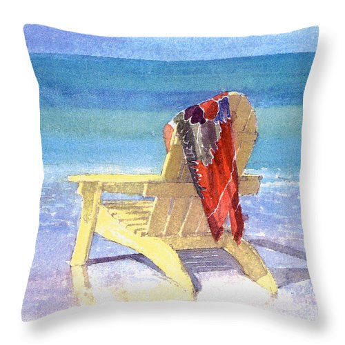Beach Throw Pillow featuring the painting Beach Chair by Shawn McLoughlin