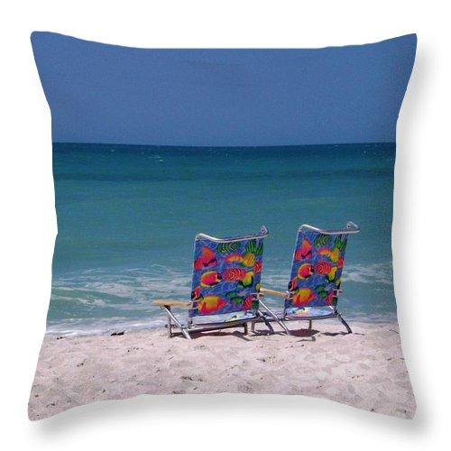 Beach Colorful Ocean Serene Sand Surf Throw Pillow featuring the photograph Beach Chairs by Anna Villarreal Garbis