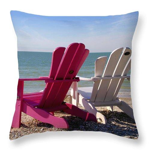 Beach Chairs Throw Pillow featuring the photograph Beach Chairs by David Lee Thompson