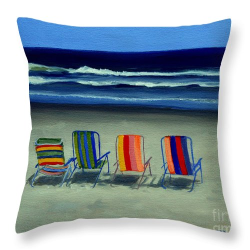 Beach Throw Pillow featuring the painting Beach Chairs by Paul Walsh
