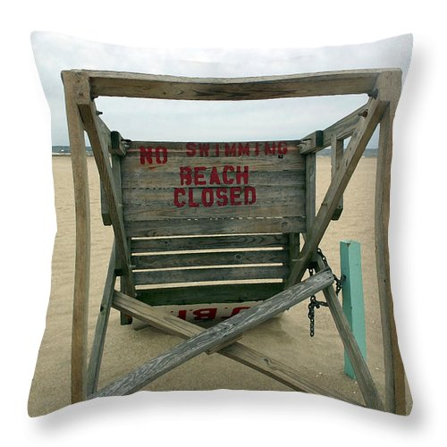 Seascape Throw Pillow featuring the photograph Beach Closed by Mary Haber