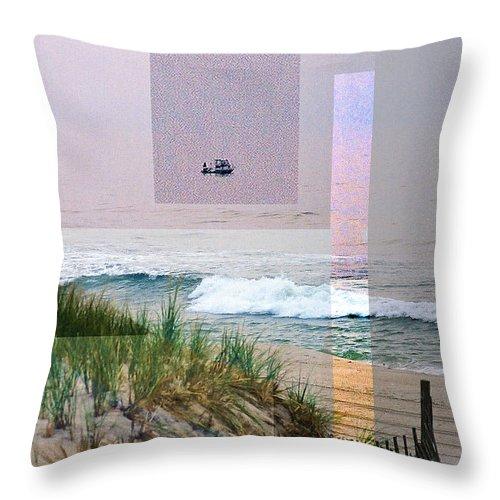 Landscape Throw Pillow featuring the digital art Beach Collage 3 by Steve Karol