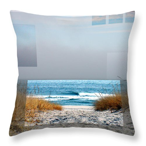Beach Throw Pillow featuring the photograph Beach Collage by Steve Karol